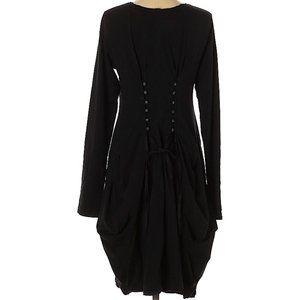 Black Label Pin-tuncked Cinched-Back Dress Med